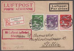 1927. DANMARK. Air Mail 10 øre + 15 + 25 øre On Reg-cover From KØBENHAVN LUFTPOST 18.... (Michel 143-145) - JF416432 - Airmail