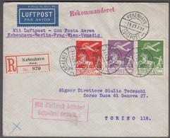 1929. DANMARK. Air Mail 10 øre + 15 øre + 25 øre On Reg-cover From KØBENHAVN LUFTPOST... (Michel 143-145) - JF416438 - Airmail