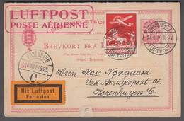 1925. DANMARK. Air Mail 25 øre On 10 ØRE BREVKORT FRA DANMARK Small Figures Replycard... (Michel 145) - JF416440 - Airmail