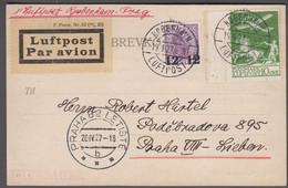 1927. DANMARK. Air Mail 15 øre + 12 On 15 øre Chr. X On BREVKORT Print 41-V From KØBE... (Michel 143+) - JF416442 - Airmail