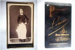 PHOTO CDV 19 EME JEUNE GARCON HOMME DE METIER SERVEUR  MODE   Cabinet LENOIR A LA FLECHE - Old (before 1900)