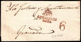 1823.Carta Prefilatélica.Sevilla-Granada.Marca PE:20 En Rojo De Sevilla - ...-1850 Vorphilatelie