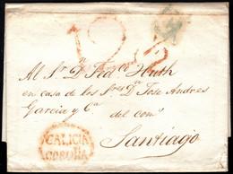 1818.Carta Prefilatélica.Coruña-Santiago.Marca PE:9 En Rojo De Coruña - ...-1850 Vorphilatelie