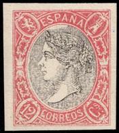 1865.MNG.Glvz:(*)332.Isabel II.12 Cuartos Carmín Y Negro.Ensayo De Color.RARO - Probe- Und Nachdrucke