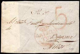 1831-1841(ca).Fragmento Prefilatélico.Tuy-Bayona/Miñor.Marca PE:6 En Rojo De Tuy.ESCASA - ...-1850 Vorphilatelie