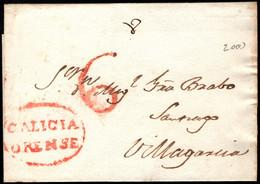 1841.Fragmento Prefilatélico.Orense-Villagarcia De Aronsa.Marca PE:9 En Rojo De Orense - ...-1850 Vorphilatelie