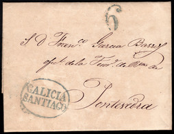 1842.Carta Prefilatélica.Santiago-Pontevedra.Marca PE: 19 En Azul De Santiago - ...-1850 Vorphilatelie