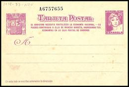 1938.MNG.Ed:(*)EP77A.E.P.2ªRepública.Matrona De Frente.25 Cts Lila S/crema.Número De Serie Con 6 Cifras - 1931-....