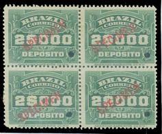 Brazil 1913 Stamp RHM-D-5 2,000 Réis Block Of 4 Hole And Overprint Specimen Unused - Unused Stamps