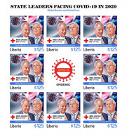 Liberia 2021, Against Covid, Leader, Barnier, Frost, Red Cross, BF IMPERFORATED - Liberia