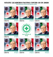 Liberia 2021, Against Covid, Leader, Berlusconi, Red Cross, BF IMPERFORATED - Liberia