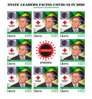 Liberia 2021, Against Covid, Leader, Bolsonaro, Red Cross, BF IMPERFORATED - Liberia