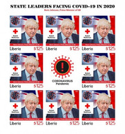 Liberia 2021, Against Covid, Leader, Johnson, Red Cross, BF IMPERFORATED - Liberia