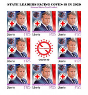 Liberia 2021, Against Covid, Leader, Macron, Red Cross, BF IMPERFORATED - Liberia