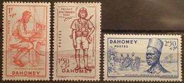R2452/493 - 1941 - COLONIES FR. - DAHOMEY - N°142 à 144 NEUFS* - Unused Stamps