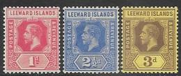 Leeward Islands  1912  Sc#48, 50-1  1d, 2 1/2d, 3d    MH  2016 Scott Value $11.50 - Leeward  Islands