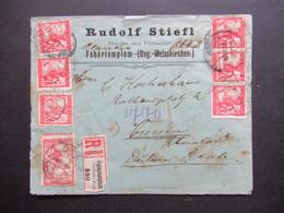 SHS 1920 Papiersiegel Rudolf Stiefl Juwelier Fehertemplom Ungarisch Weisskirchen Einschreiben Reko R-Zettel Geändert - Covers & Documents