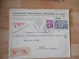 Timbre 1 F 75  Constitution Des Etats Unis  Sur Lettre Commerciale Laminoirs Lens - 1921-1960: Modern Tijdperk