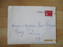 58450 Neuvy Sur Loire Griffe Marque Lineaire Obliteration De Fortune - 1961-....
