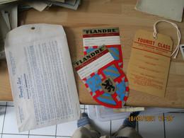 Lot Dans Enveloppe De La French Line 2 Etiquette Bagage Flandre Et Etiquette Carton Luggage - Hotel Labels