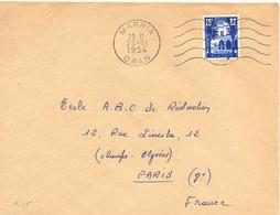 ALGERIE MARNIA ORAN OMec SECAP FLAMME DROITE 5.L.O M Du 26-11-1954 - Cartas