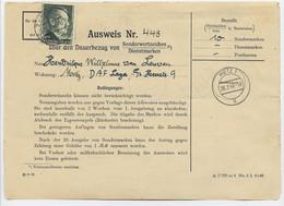 HITLER 1RM SOLO SEUL FEUILLE BRIEF AUSWEIS METZ 1 28.2..1944 MOSELLE - Guerra De 1939-45