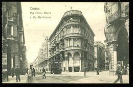 Torino Via Pietro Micca E Via Barbaroux Animato Tramway Modiano - Places