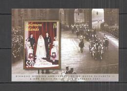 NW343 SOLOMON ISLANDS QUEEN ELIZABETH II & PRINCE PHILIP DIAMOND WEDDING BL MNH - Royalties, Royals