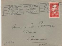 YT 880 JULES FERRY SEUL SUR LETTRE NIMES GARD 22/3/1951 POUR CONNAUX - Storia Postale