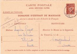 Double Extrait Naissance Entier Carte Postale Service Petain 1f20 Carcassonne  Villepinte Aude 1944 1943 - Sonstige