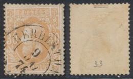 """émission 1869 - N°33 Obl Double Cercle """"Herbesthal"""". Toutes Les Dents Sont Réparées ! Pour Documentation. - 1869-1883 Leopold II"""