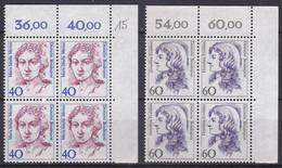 BRD, 1987,  Nr. 1331-1332 ** Frauen Der Deutschen Geschichte (II), 2 Viererblöcke Mit Eckrand Oben Rechts - Neufs
