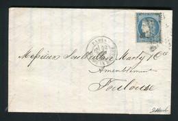 Belle Lettre De Paris Pour Toulouse ( Juin 1871 ) Avec Un N° 37 - 1870 Beleg Van Parijs