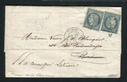 Rare Lettre De Paris Pour Bordeaux ( Septembre 1871 ) Avec Deux N° 37 - Tirage De La Commune - 1870 Siege Of Paris