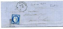 Lettre   Avec N° 60 Cérès + Losange LP + Convoyeur Ligne Genelard M - CH  Pour Charolles + Ambulant 1307( T 185 ) - 1849-1876: Classic Period