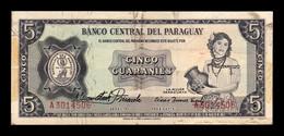 Paraguay 5 Guaraníes L.1952 (1963) Pick 195a(1) Rare Sign MBC- AVF - Paraguay