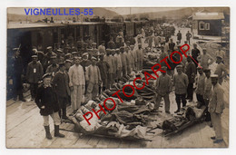 VIGNEULLES Les HATTONCHATEL-Gare-TRAIN-Soldats Francais-BLESSES-CARTE PHOTO Allemande-Guerre 14-18-1 WK-France-55- - Vigneulles Les Hattonchatel