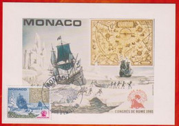 CM-Carte Maximum Card # MONACO-1982 (N° Yvert 1301 ) Polaire- Bateaux,ships,voilier,Segleschiff , Carte Polaire - Barche