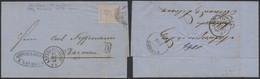 """N°18 Sur LAC Annulé Par Obl Rurale + Obl DC """"Anvers (station)"""" 13/12/69 > Barmen / Amb """"Est III"""". Rare ! Pli D'archive. - 1865-1866 Profile Left"""
