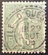 130 ° 10 Île D'Ouessant Finistère Tireté Semeuse 15 C Vert Gris 29/8/1905 Oblitéré - 1877-1920: Periodo Semi Moderne