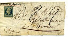 Lettre Incomplète Avec  N° 14Ad ( Bleu Sur Vert ) + Losange PC 2607 QUEYRAS + CAD  Queyras  Pour Briançon En  ( T 190 ) - 1849-1876: Classic Period