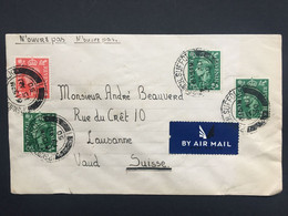 GB GEORGE VI 1950 Air Mail Cover Ipswich To Switzerland - Covers & Documents