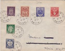 23300# 1er JOUR D'EMISSION ARMOIRIES N°532 à 537 LETTRE Obl PARIS 1941 MARSEILLE LYON RENNES REIMS MONTPELLIER PARIS - 1921-1960: Modern Period