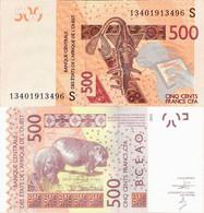 Guinea Bissau - West African States 2012 - 500 Francs - Pick 919 UNC Letter S - Guinea-Bissau