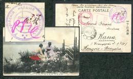 05191 WWI Russia FAR EAST Ussuri COSSACK Division SEAL 1915 POW Card Cancel Razdolnoe CENSOR Mark To Hungary - Cartas