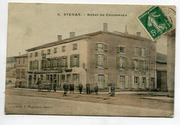 55 STENAY Carte Rare HOTEL Du Commerce Livreur Et Sa Cariole à Bras Anim Couleur 1908 Timbrée  - D07 2021 - Stenay