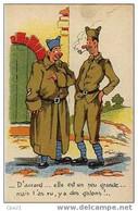 CPA Humour Militaire 100/32 La Capote ... Un Peu Grande - Humor