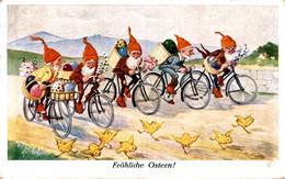 40582- Fröhliche Ostern, Zwerge Liefern Eier Mit Dem Fahrrad 1928 - Pâques