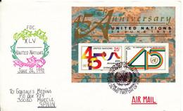 U. N. New York FDC  To Germany 26-6-1990 Souvenir Sheet UN 45 Anniversary - Briefe U. Dokumente