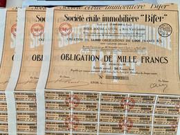 Sté  CIVILE  IMMOBILIÈRE  < BIFER > ---------Lot  De  3  Obligations  De  1.000 Frs - Industry